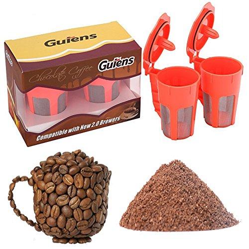 Gutens 2 Pack Reusable Carafe K-Cups Reusable coffee filter for Keurig 20 -K200 K300 K400 K500 Series