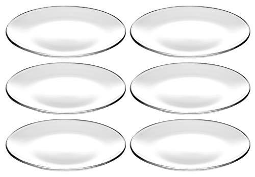 Barski - European - Glass - Set of 6 - Dinner - Round Plates - Each Plate is 11 Diameter - Made in Europe