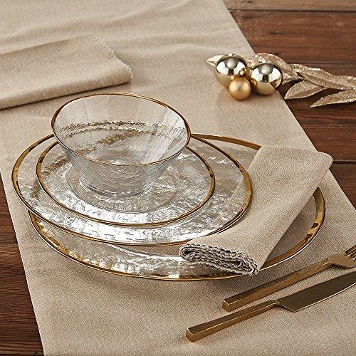 Gold Metallic Rim Glass Dinner plate - set of 4