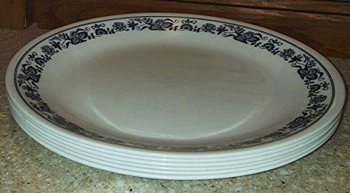 SET OF 6 - Corning Corningware Corelle Old Town Blue 10 Inch Glass Dinner Plates