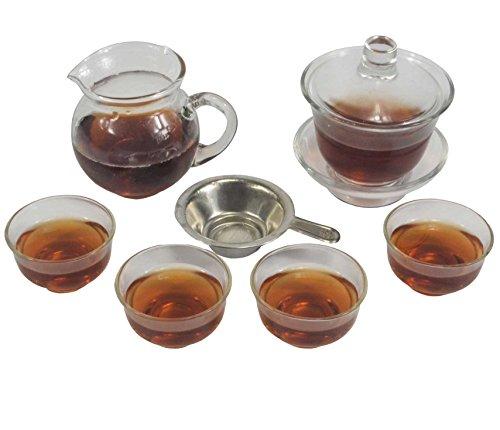 Glass Gaiwan Gongfu Tea Set Glass Gaiwan Gongfu Tea Set Comprised of 3-piece Gaiwan1 Fairness Pitcher1 Tea Filter and 12 Tea Cups 4