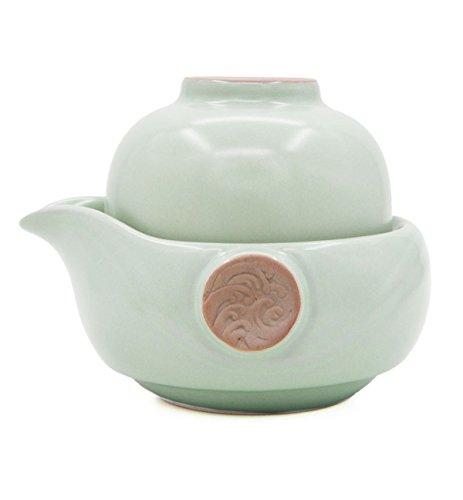 Vegali Celadon Pumpkin-Style Portable Gongfu Tea Set -100 Handmade Chinese  Japanese Vintage Gongfu Teaset - Porcelain Teapot Teacups Celadon-D