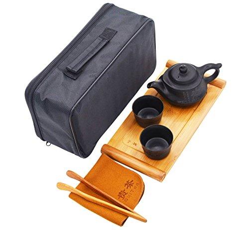 Vegali Portable Travel Tea Set with a Portable Travel Bag - 100 Handmade Chinese  Japanese Vintage Gongfu Teaset - Porcelain Teapot Teacups Bamboo Tea TrayXT1 Black