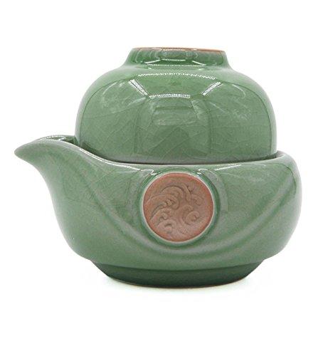Vegali Pumpkin-Style Portable Gongfu Tea Set -100 Handmade Chinese  Japanese Vintage Gongfu Teaset Celadon-B