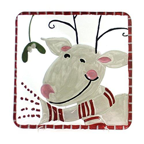 Jingle Deer Fused Glass Plate