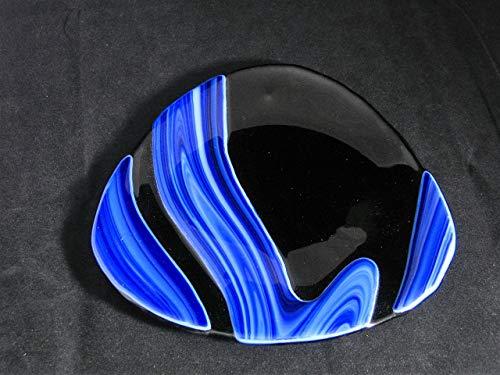 Glass Platter in Black and Cobalt Blue Fused Glass Platter Fused Glass Plate Cookie Dish Hostess Gift Gift for Teacher