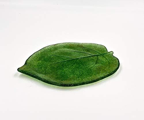 Green 75 Inch Kiwi Leaf Fused Glass Plate