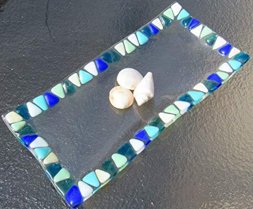 Ocean Beach Glass Plate Sea Glass Jewelry Keeper Fused Glass Sushi Plate Mosaic Turquoise Blue Sea Glass Appetizer Dish Ocean Waves Beach Glass Art Beach House Decor