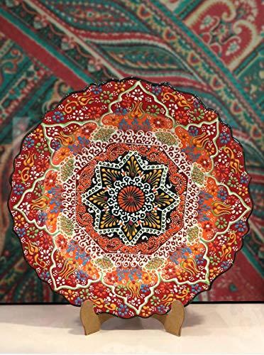 IstanbulArtWorkshop Handmade Turkish Decorative Ceramic PlateLarge Decorative Hanging PlateColorful Ceramic Wall Plate 12