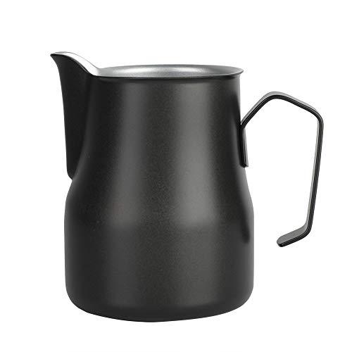 Nitrip 350ml Stainless Steel Milk Frothing WhiteBlackRedOrangeGreen Cup Coffee Pitcher Jug Latte Art for Coffee ShopBlack