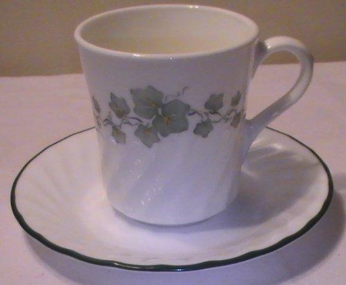 Corning Corelle Callaway Ivy Mugs Saucers - Set of 4 Ea