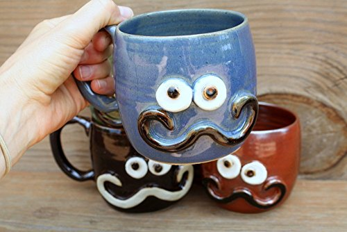 Handlebar Mustache Mug Blue Green Red-Brown or Chocolate Black Stoneware Pottery Coffee Cup Hot or Cold Beverage Medium 12 - 16 Ounces