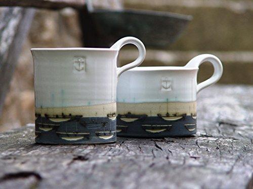 Stoneware Pottery Mug Coffee Mug Hand Painted Mug Pottery Teacup with Boats White and Blue Mug Unique Mug Ceramics and Pottery