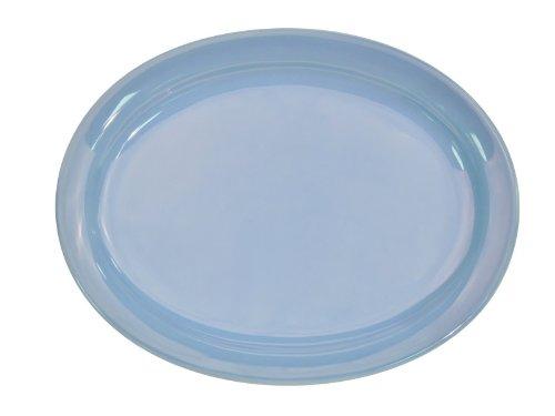 CAC China L-13NR-LB Las Vegas Narrow Rim 11-12-Inch by 9-Inch Light Blue Stoneware Oval Platter Box of 12