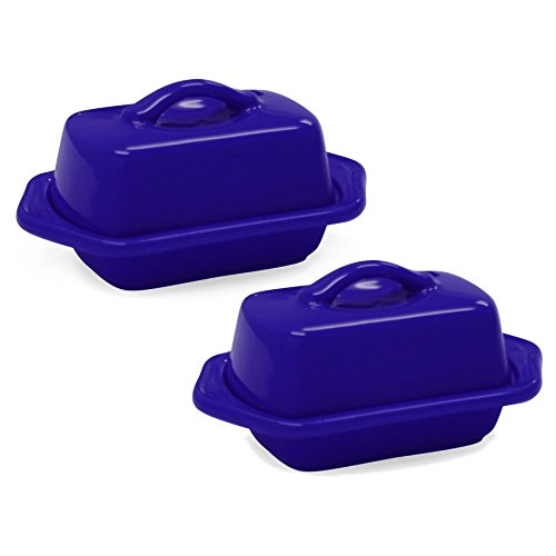 Chantal Indigo Blue Stoneware Mini 5 Inch Butter Dish Set of 2