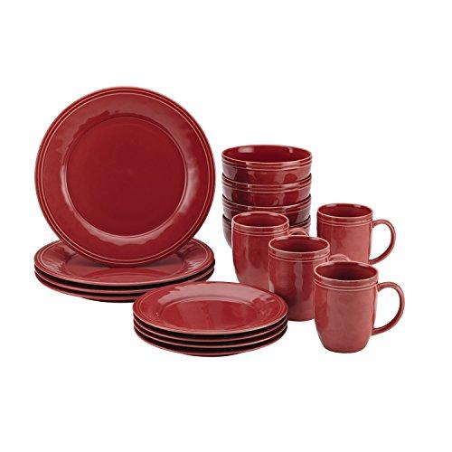 Rachael Ray Cucina 16-Piece Stoneware Dinnerware Set Cranberry Red