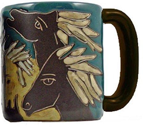 Mara Stoneware Collection - 16 Ounce Ceramic CoffeeTea Cup Collectible Dinner Mugs - Mexican Pottery Horse Design
