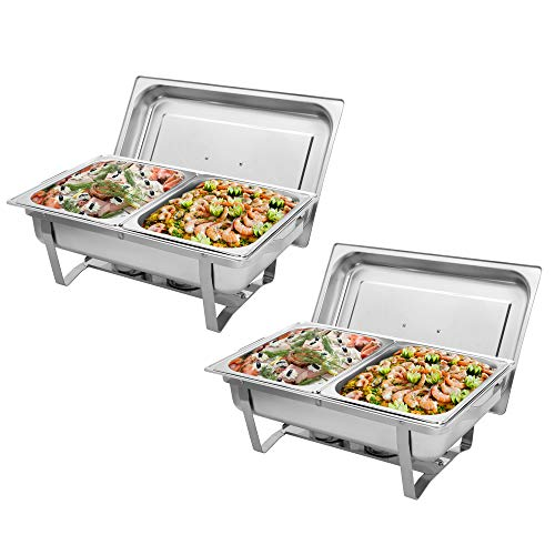 Mytunes 2 Packs Chafing Dish 8 Quart Chafer Dishes Buffet Set Stainless Steel Rectangular Chafing Dish Set Full Size with 2 Half Size Pan