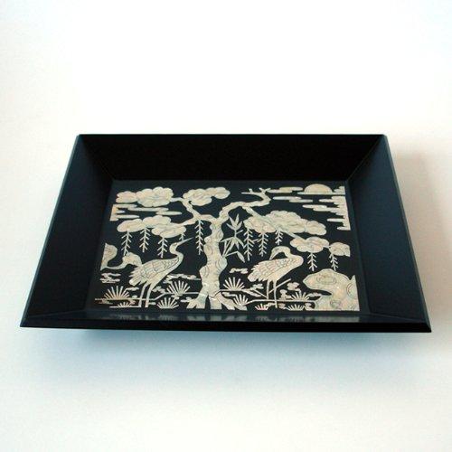 Mother of Pearl Inlay Art Lacquer Finish Bird Pine Tree Design Rectangular Handmade Black Wood Snack Tea Coffee Wine Serving Platter Tray Plate