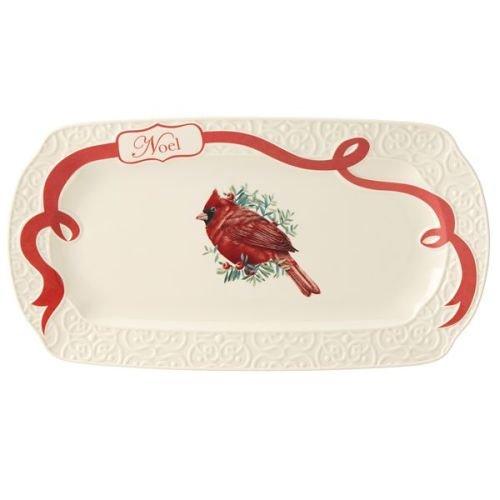 Lenox Winter Greetings Carved Oblong Platter Ivory