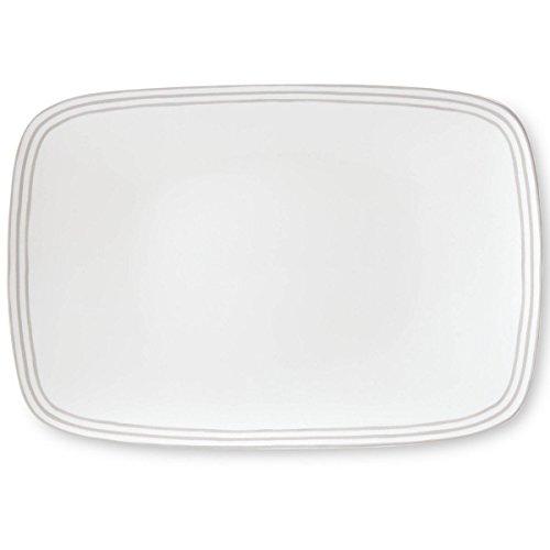 kate spade new york Charlotte Street Dinnerware Grey 1575 Oblong Serving Platter Grey and White Porcelain