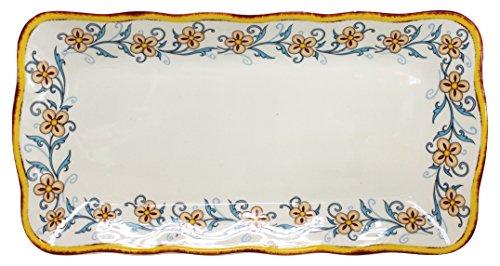 Euro Ceramica Duomo Collection Italian-Inspired 168 Rectuangular Ceramic Serving Tray with Organic Edges Floral Design Multicolor