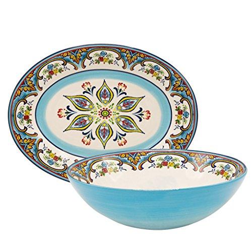 Euro Ceramica Zanzibar Collection Vibrant Ceramic Serving Assortment Oval Platter Round Serving Bowl 2 Piece Set Spanish Floral Design Multicolor