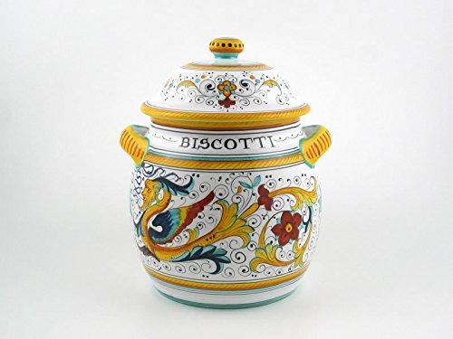 Hand Painted Italian Ceramic 10-inch Round Biscotti Cookie Jar Raffaellesco - Handmade in Deruta