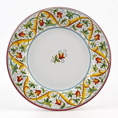 Hand Painted Italian Ceramic 11-inch Dinner Plate Flat Rim Primizia - Handmade in Deruta