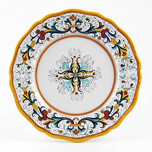 Hand Painted Italian Ceramic 11-inch Dinner Plate Scallop Rim Ricco Deruta - Handmade in Deruta