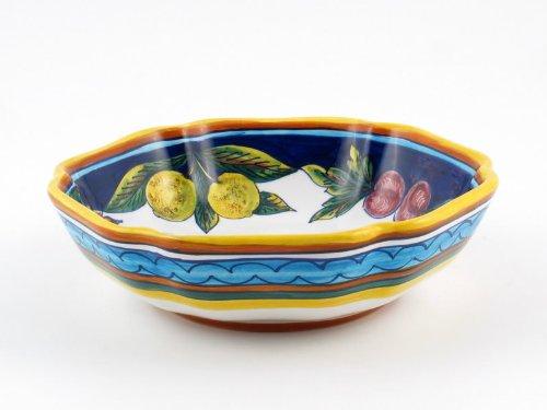 Hand Painted Italian Ceramic 13-inch Serving Bowl Geometrico S09 - Handmade in Deruta