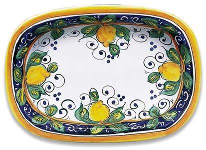 Hand Painted Italian Ceramic Alcantara Oval Dish - Handmade in Deruta