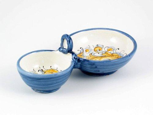 Hand Painted Italian Ceramic Double Olive Bowl Rinascimento Blu e Giallo - Handmade in Gubbio Italy