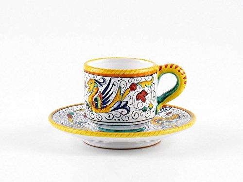 Hand Painted Italian Ceramic Espresso Cup Saucer Raffaellesco - Handmade in Deruta