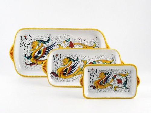 Hand Painted Italian Ceramic Rectangular Tray Raffaellesco - Handmade in Deruta