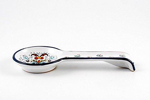 Hand Painted Italian Ceramic Spoon Rest Ricco Deruta Blu - Handmade in Deruta