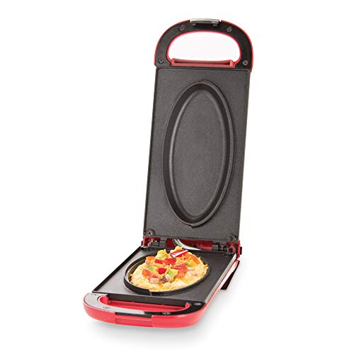 Dash Omelette Maker with Dual Non Stick Plates - Perfect for Eggs Frittatas Paninis Pizza Pockets Other Breakfast Lunch and Dinner Options - Red Renewed