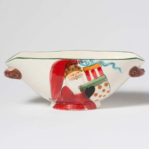 Vietri Old St Nick Handled Oval Bowl Santa Bearing Gifts