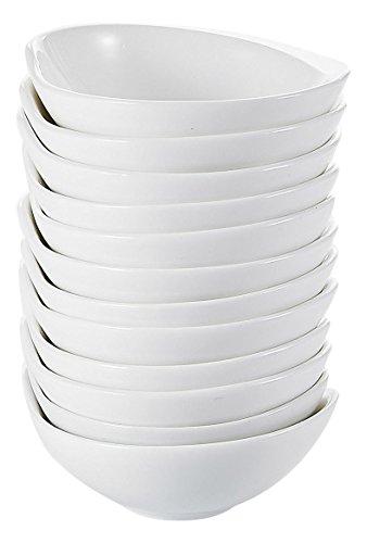 Malacasa Series Ramekin 12-Piece 43 Ramekins Ivory White Porcelain China Ceramic Cream White Dishes11×10×4cmSet of 12
