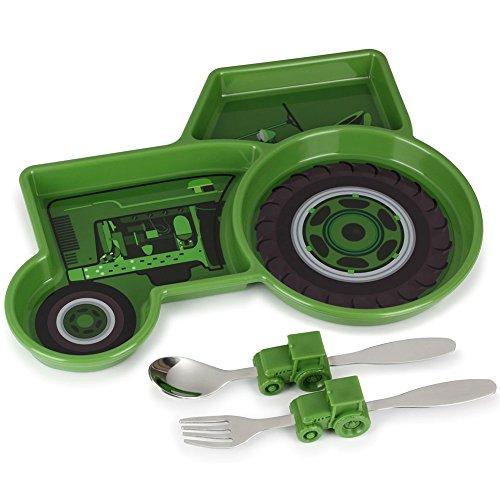 KidsFunwares Tractor Dinner Dishwasher Safe 3 Section Plate Utensil Set