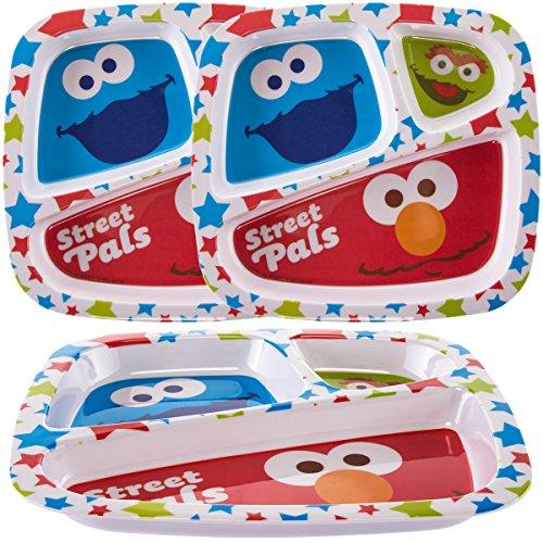 Zak 3 Pack Disney Sesame Street Character Plastic 3-Section Divided Kids Plates