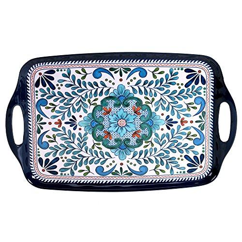 Certified International Talavera Melamine 19 x 12 Rectangular Tray with Handles Multicolor