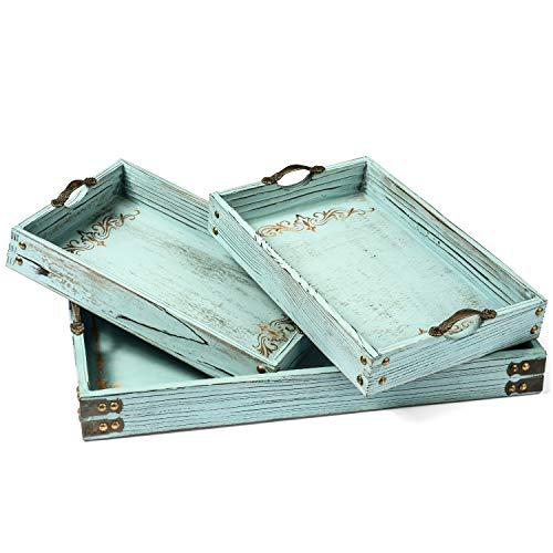 Modern 5th Vintage Aqua Blue Ottoman Wooden Serving Trays with Handles Set of 3 Decorative Tray Coastal Decor Pattern Designed