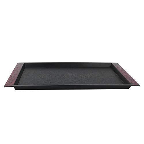 Plastic Tray Black Rectangular Plastic Tray Tea Food Serving Tray for Restaurant Home Hotel Tray with Handles BlackV18
