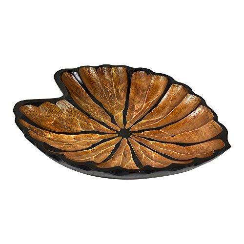 AeraVida Fancy Caladium Leaf Mango Wood PlateTray