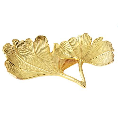 DONGMING Reusable Leaf Design Golden Display Tray Small Trinket Alloy Ginkgo Biloba Tray Dish Vanity Tray