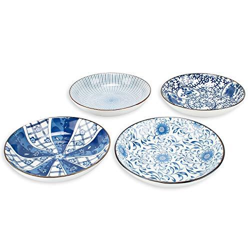 YALONG Porcelain Blue and White Bread Butter Dinner Plate Set Shallow Plates Set Bowls Set of 4 7-inch Assorted Motifs blue salad plate Serving Appetizer Salad Floral Dessert Snack