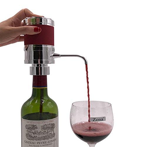 Zona Electric Wine Spirit Aerator DispenserPremium One-Touch Aerating PourerColor Silver