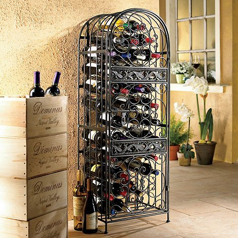 45-Bottle Renaissance Wrought Iron Wine Holder Stand Sophisticated Wine Storage