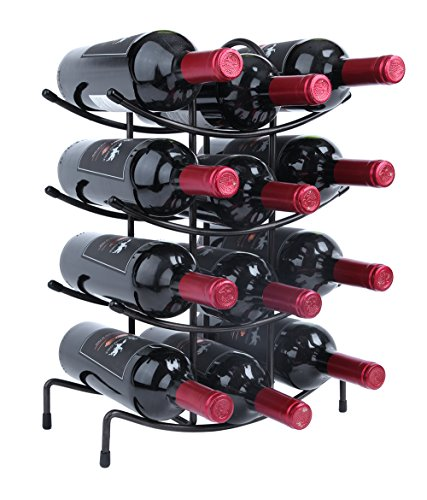 Finnhomy 12 Bottle Wine Rack Wine Bottle Holder Free Standing Wine Storage RackThicken Steel Wire Iron Brozen